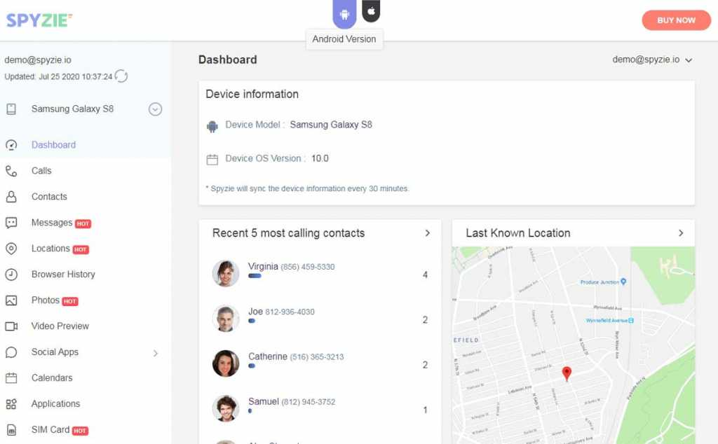 spyzie dashboard - 5 Best Free Cell Phone Tracker to Track a Cell Phone Location